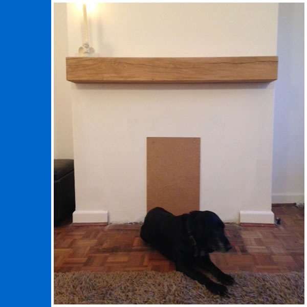 Photo of bespoke Solid Oak Mantelpiece.