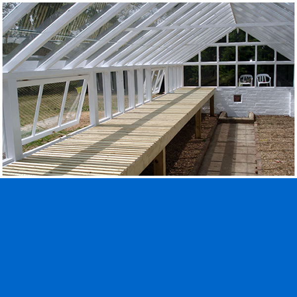 Photo of internal of Softwood Timber Framed greenhouse in Ockley.