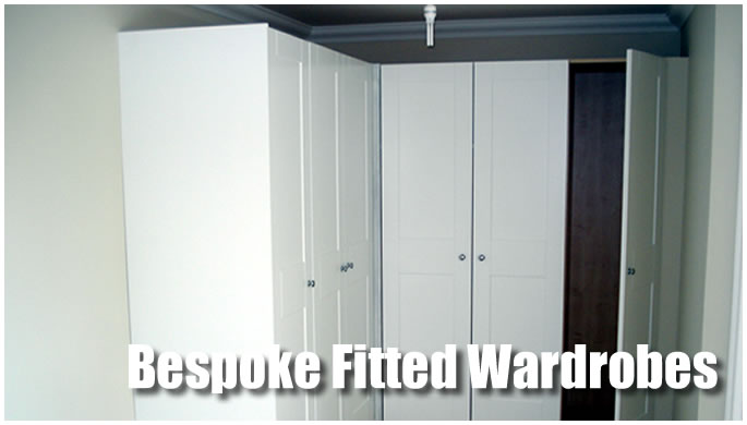Bespoke fitted wardrobes display image.
