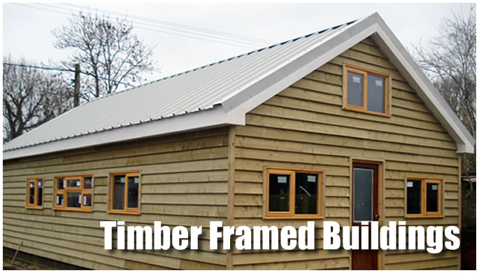 Timber framed buildings display image.